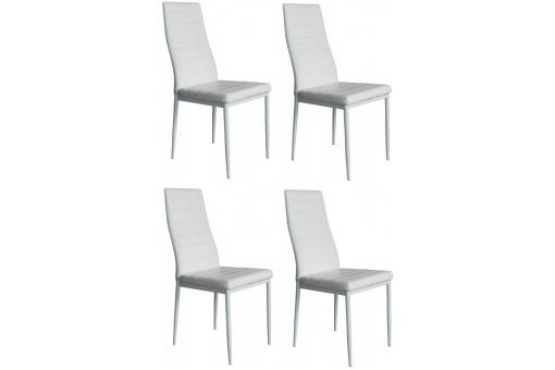 Lot de 4 chaises en simili cuir blanches LOLLY