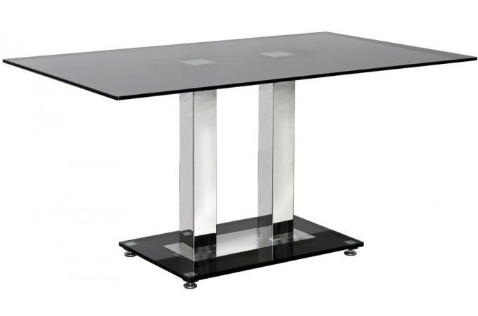 Table de s jour en verre noir avec pi tement en acier lane - Table sejour verre ...