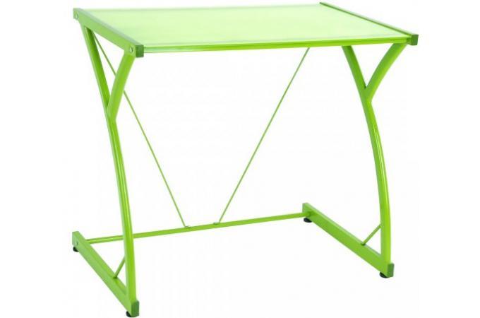 bureau en acier vert avec plateau en verre huan design pas cher sur sofactory. Black Bedroom Furniture Sets. Home Design Ideas