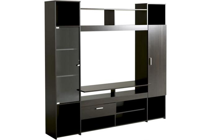 meuble tv en imitation bois marron tag re maya design. Black Bedroom Furniture Sets. Home Design Ideas