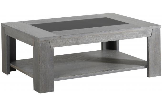 Table basse ch ne gris plaqu bois sidney design sur sofactory - Table basse industrielle pas chere ...