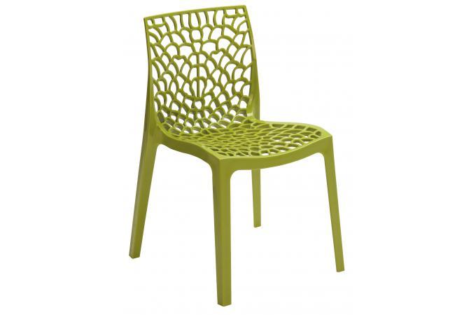 Chaise design verte anis opaque filet design sur sofactory - Chaise transparente couleur ...