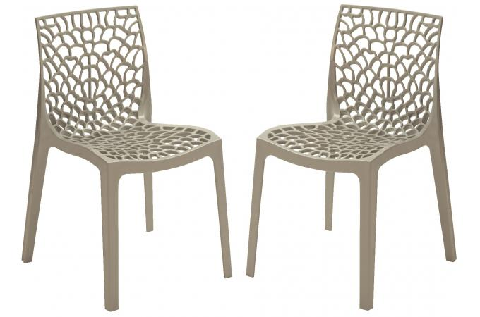 Lot de 2 chaises design grises claires opaques filet - Chaise de jardin grise ...