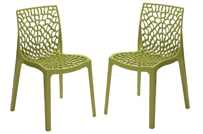 Lot de 2 Chaises Design Vertes Anis FILET design sur SoFactory