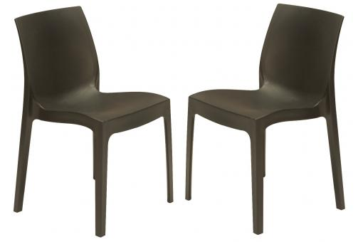Lot de 2 Chaises Design Grises Anthracites ILE
