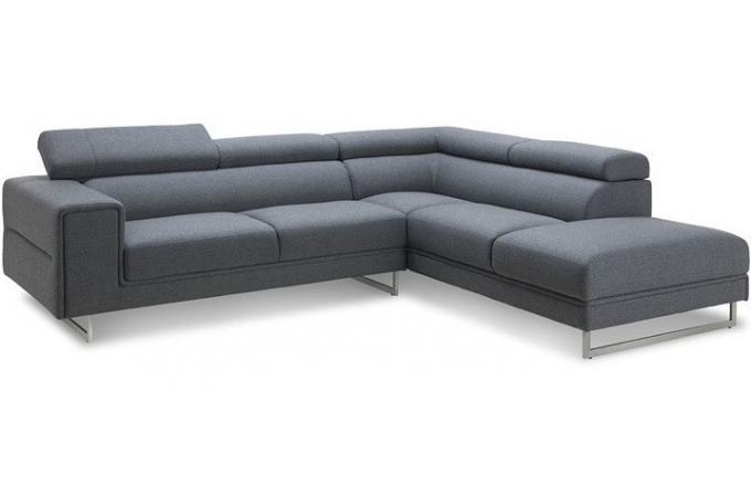 Canapé d angle droit en tissu gris Zion design sur SoFactory