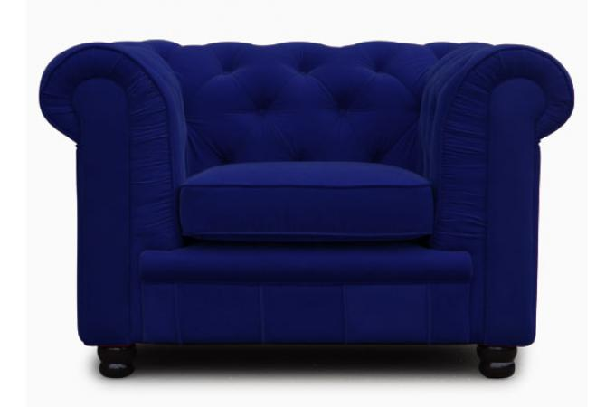 Fauteuil Chesterfield 1 place bleu velours LILY