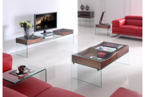 meuble tv en verre et bois scotland design pas cher sur sofactory. Black Bedroom Furniture Sets. Home Design Ideas