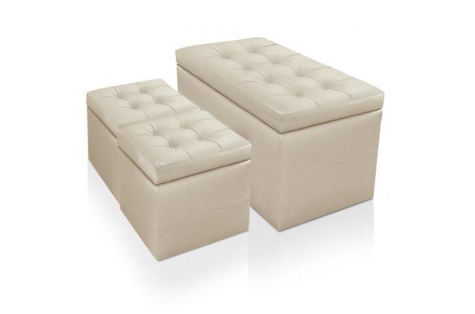 banquette et 2 poufs beiges en simili cesar design sur sofactory. Black Bedroom Furniture Sets. Home Design Ideas