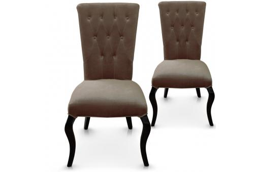 Lot de 2 chaises taupes en velours DEMSIA