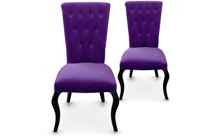 Lot de 2 chaises violettes en velours demsia design pas - Lot chaises pas cher ...