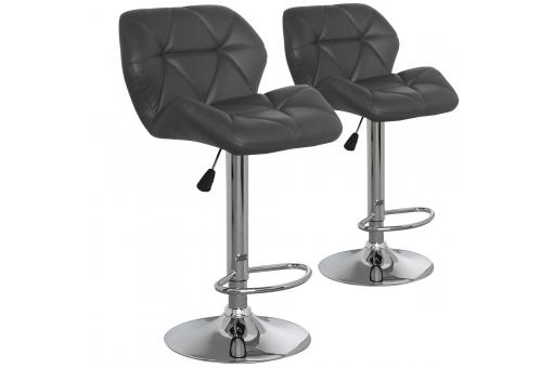 Lot de 2 chaises de bar grises en métal CANADA