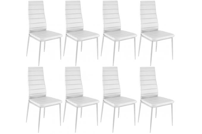 lot de 8 chaises blanches en m tal kronos design sur sofactory. Black Bedroom Furniture Sets. Home Design Ideas