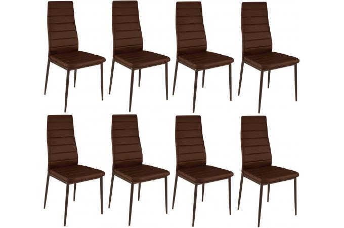 Lot de 8 chaises marrons en métal KRONOS