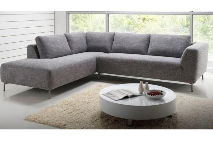 canap d 39 angle droit en tissu gris banner design pas cher. Black Bedroom Furniture Sets. Home Design Ideas