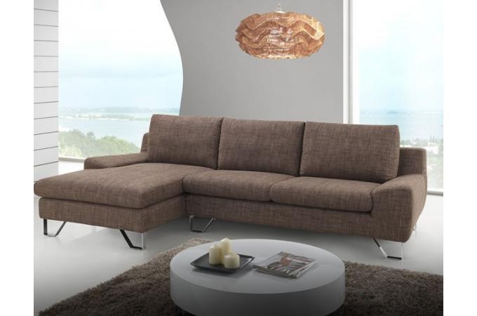 Canapé d'angle gauche en tissu marron KATE design sur ...