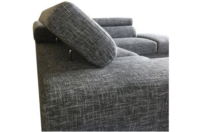 Canap d 39 angle gauche gris chin en tissu zion design sur - Canape angle gris chine ...