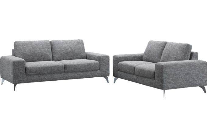 Canap 3 places gris en tissu melanie design pas cher sur sofactory - Canape 3 places tissu gris ...