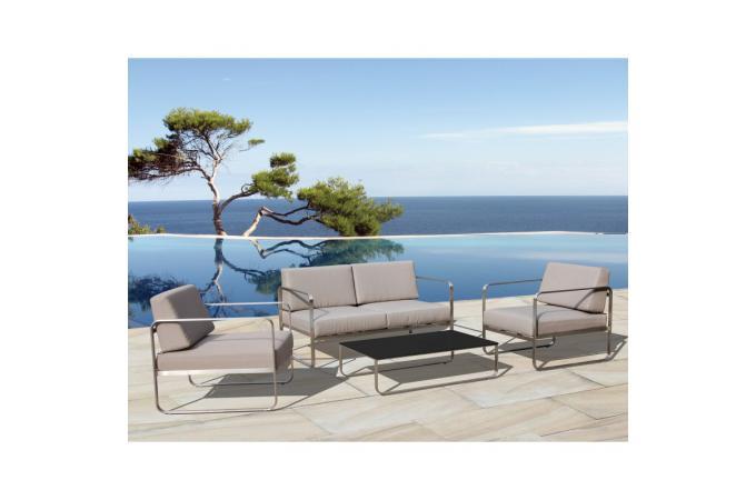 Salon de jardin gris clair en acier Agate design sur SoFactory