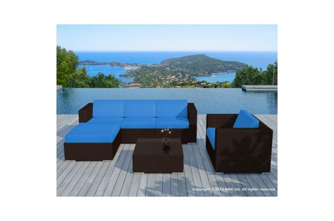 Salon de jardin bleu en résine tressée Amadeus design sur SoFactory