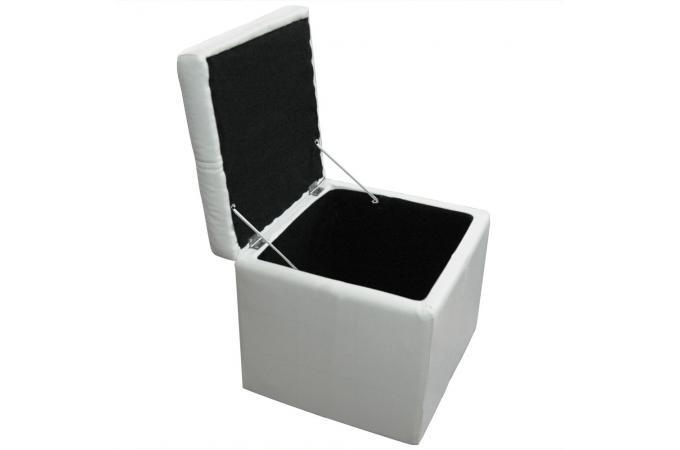 banquette et 3 poufs blancs en simili cesar design sur sofactory