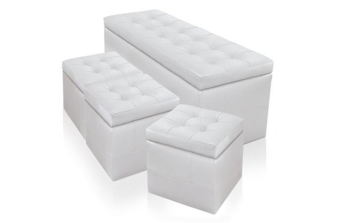 banquette et 3 poufs blancs en simili cesar design sur sofactory. Black Bedroom Furniture Sets. Home Design Ideas