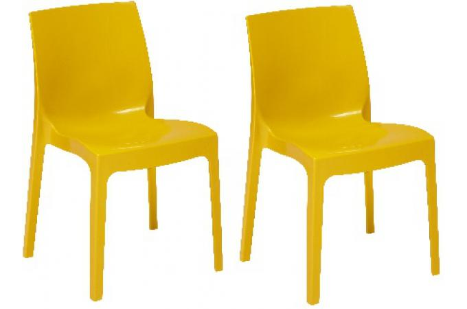 Lot de 2 Chaises Empilables Jaunes VIENNE