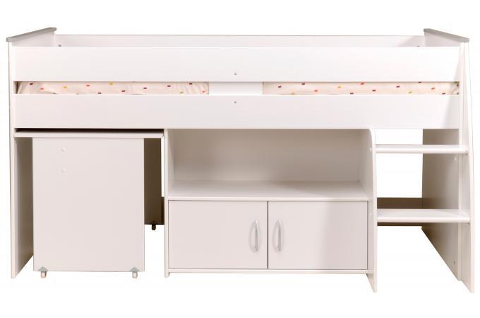 lit mezzanine en panneau de particules blanc combin avec un bureau et un rangement cooper. Black Bedroom Furniture Sets. Home Design Ideas