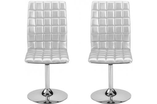 Lot de 2 Chaises pivotantes matelassées ASHLEY grises