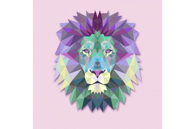 Tableau Animaux Lion Rose 60x60 Soline Déco Design Sur Sofactory