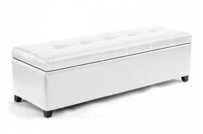 Banquette coffre en simili cuir coloris blanc 140 cm rimini design pas cher s - Banquette coffre simili cuir ...