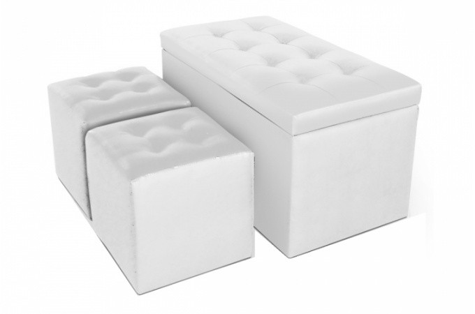banquette coffre et ses deux poufs en simili blanc cesar design