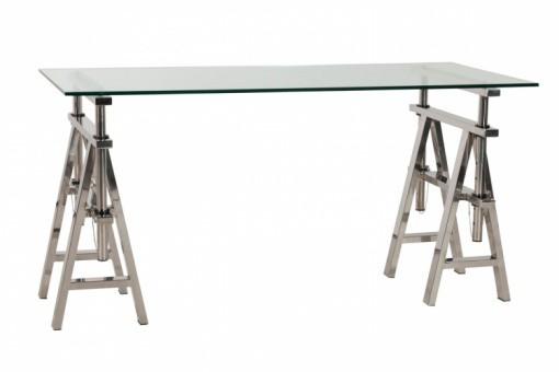 Bureau en verre et acier design king design sur sofactory for Meuble bureau verre acier