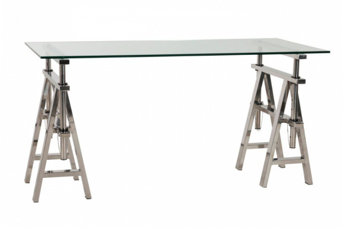 Bureau en verre et acier design king design sur sofactory