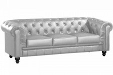 Canapé chesterfield argent capitonné 3 places PLAYA Sofactory