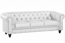 Canapé chesterfield imitation cuir blanc capitonné 3 places PLAYA