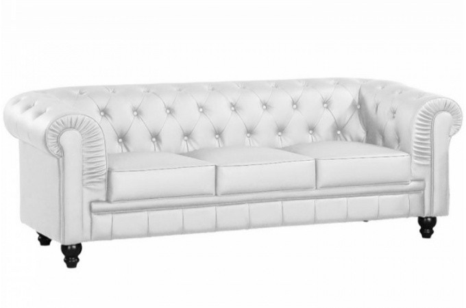canap chesterfield blanc capitonn 3 places playa design. Black Bedroom Furniture Sets. Home Design Ideas