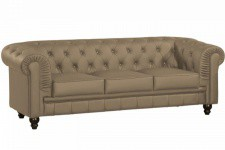 Canapé chesterfield imitation cuir taupe capitonné 3 places PLAYA