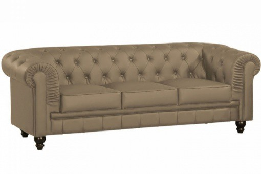 canap chesterfield simili taupe capitonn 3 places playa design sur sofactory. Black Bedroom Furniture Sets. Home Design Ideas