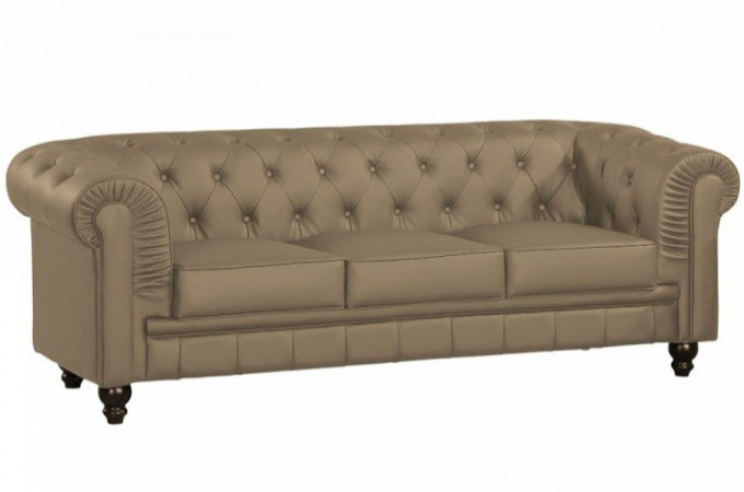 Canap chesterfield imitation cuir taupe capitonn 3 places playa design en d - Canape imitation chesterfield ...