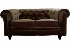 Canapé chesterfield velours capitonné choco 2 places CITY Sofactory
