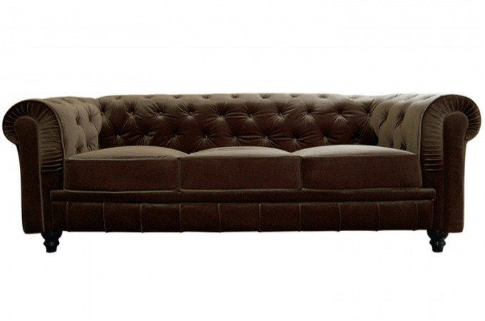 Canapé Chesterfield Velours Capitonné Choco 3 Places CITY SoFactory