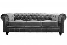 Canapé chesterfield velours capitonné gris argenté 3 places CITY Sofactory