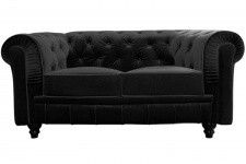 Canapé chesterfield velours capitonné noir 2 places CITY