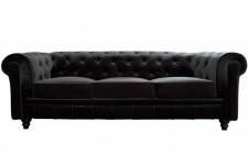 Canapé chesterfield velours capitonné noir 3 places CITY