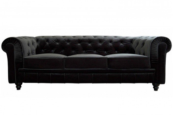 Canap chesterfield velours capitonn noir 3 places city design en direct de - Canape capitonne design ...