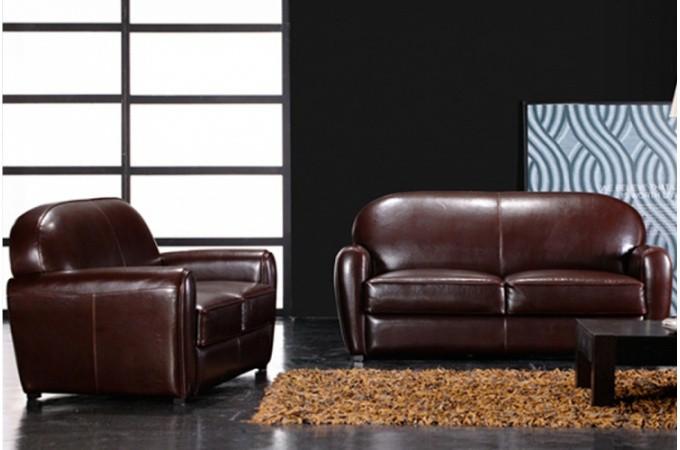 canap club marron 3 places brooklyn design sur sofactory. Black Bedroom Furniture Sets. Home Design Ideas