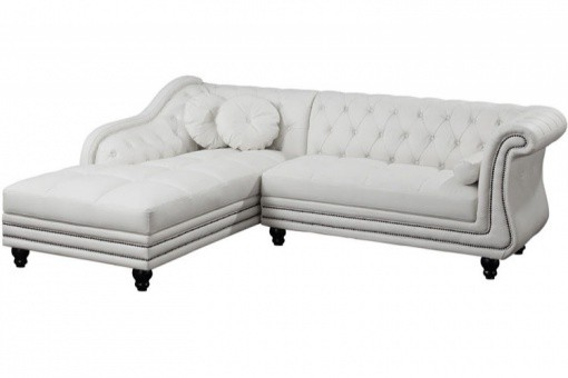 Canapé d'angle droit blanc Chesterfield Diana KATE SoFactory