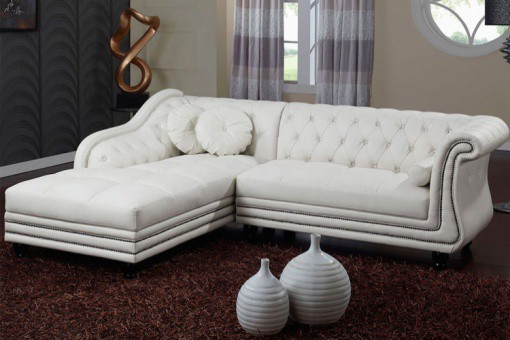 Canapé d'angle droit blanc Chesterfield Diana KATE Blanc ME44942-0000