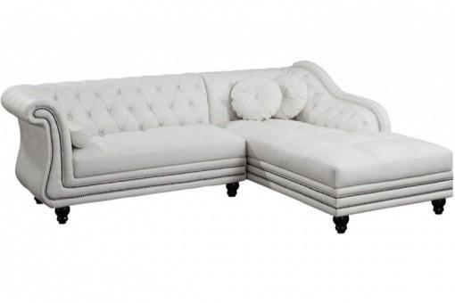 canap d 39 angle gauche blanc chesterfield diana kate design sur sofactory. Black Bedroom Furniture Sets. Home Design Ideas